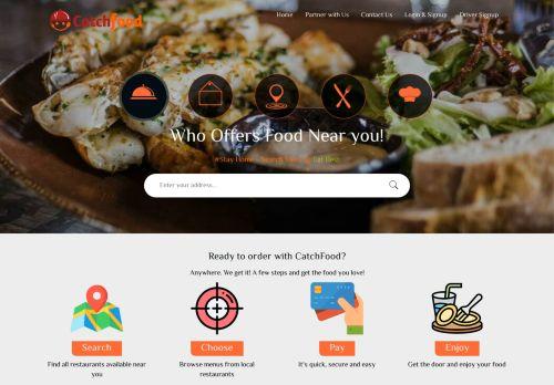 لقطة شاشة لموقع كاتش فود لطلب الطعام اون لاين بتاريخ 08/04/2021 بواسطة دليل مواقع تبادل بالمجان