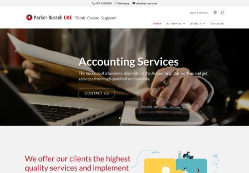 لقطة شاشة لموقع Audit Firms in Dubai   Parker Russell UAE بتاريخ 09/04/2021 بواسطة دليل مواقع تبادل بالمجان