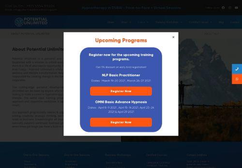 لقطة شاشة لموقع Potential Unlimited Training بتاريخ 08/05/2021 بواسطة دليل مواقع تبادل بالمجان