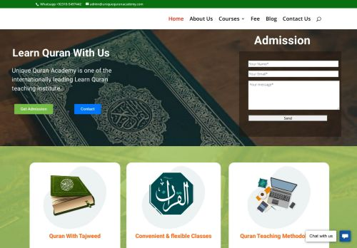 لقطة شاشة لموقع Unique Quran Academy - Online Quran teaching institute بتاريخ 08/08/2020 بواسطة دليل مواقع تبادل بالمجان
