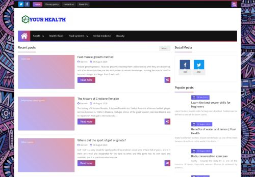 لقطة شاشة لموقع Your Health بتاريخ 08/08/2020 بواسطة دليل مواقع تبادل بالمجان