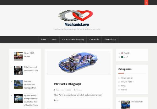 لقطة شاشة لموقع الهندسة الميكانيكية MechanicLove بتاريخ 12/10/2020 بواسطة دليل مواقع تبادل بالمجان
