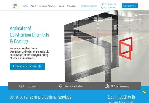 لقطة شاشة لموقع CONCHEM للخدمات التقنية بتاريخ 22/10/2020 بواسطة دليل مواقع تبادل بالمجان