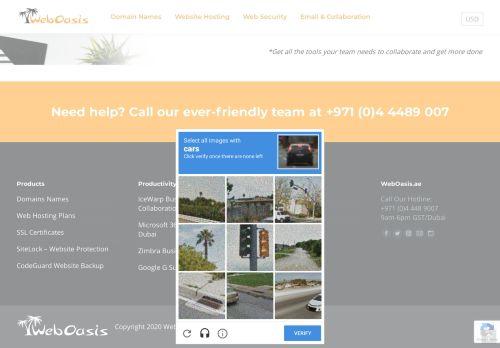 لقطة شاشة لموقع WebOasis لخدمات الانترنت بتاريخ 29/10/2020 بواسطة دليل مواقع تبادل بالمجان