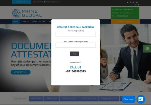 لقطة شاشة لموقع Prime Global Attestation Services UAE - Certificate & Document Attestation Services in UAE بتاريخ 25/01/2021 بواسطة دليل مواقع تبادل بالمجان