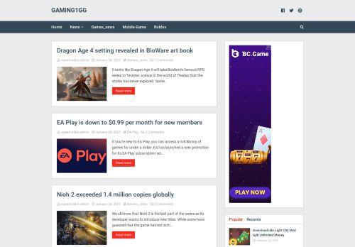 لقطة شاشة لموقع gaming1gg بتاريخ 26/01/2021 بواسطة دليل مواقع تبادل بالمجان