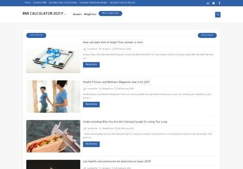 لقطة شاشة لموقع BMI CALCULATOR FREE 2021 بتاريخ 02/03/2021 بواسطة دليل مواقع تبادل بالمجان